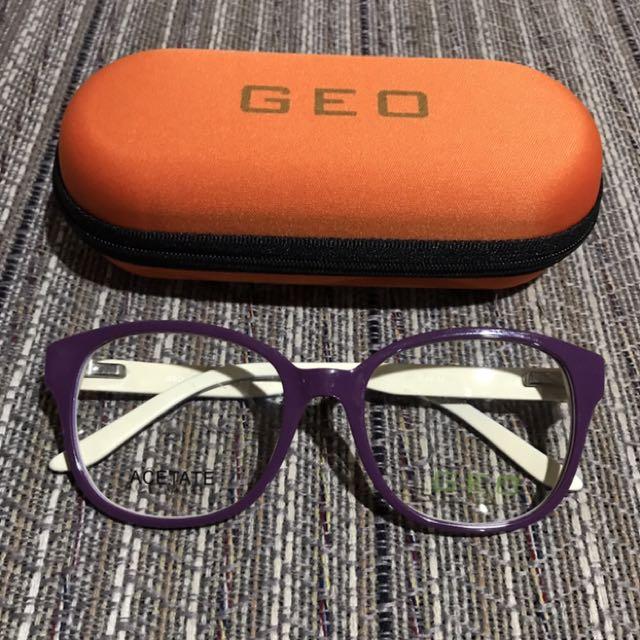 Violet Hipster Nerd Eyeglasses Frame