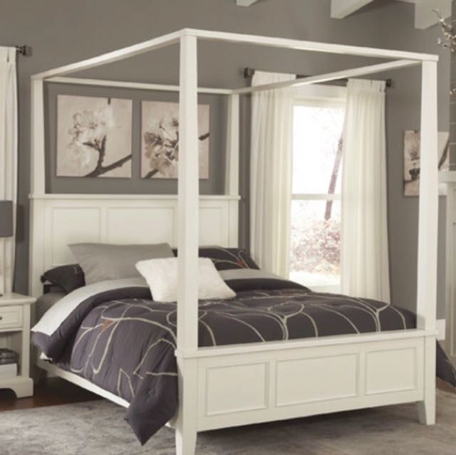 White King Size Canopy Bed