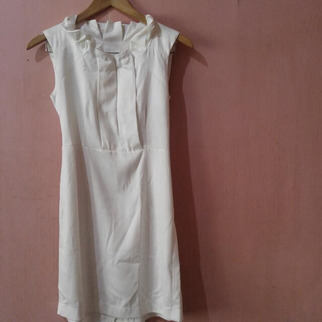 White Satin Dress - Small