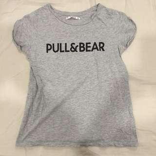Pull&bear 袖口反摺彈性T恤