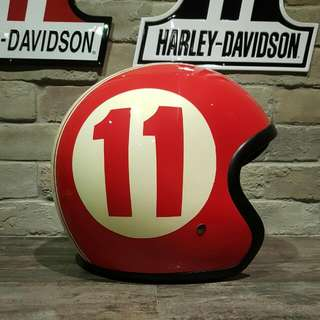 Red Open Face Helmet With Racing Stripes