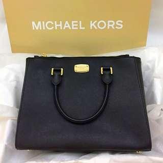 Micheal Kors MD Satchel Leather Bag Black