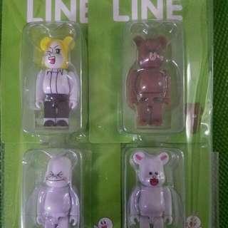 Bearbrick Line and Friends 100% 1 Set 4 只