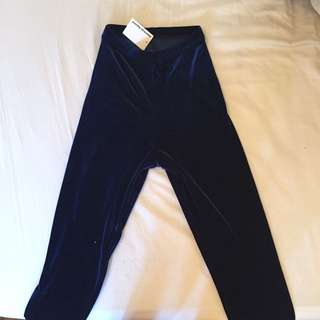 BNWT American Apparel Navy Blue Velvet Stretch Leggings