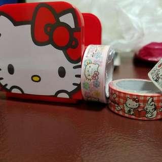 全新Hello Kitty 膠纸座連三卷Kitty膠紙