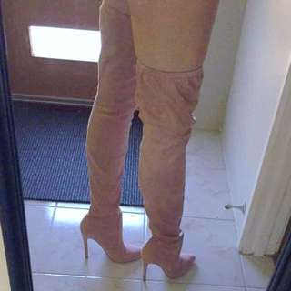 Baby Pink Suede Boots 6