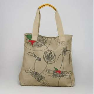 United Colors of Benetton by FABRICA Canvas Spaghetti Tote Bag