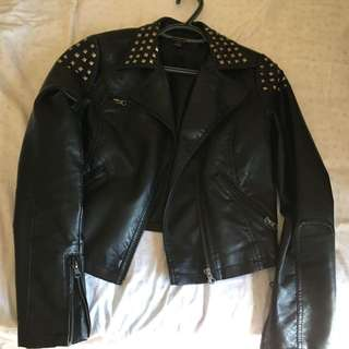 Black Faux Leather Jacket With Gold Hardware Spikes
