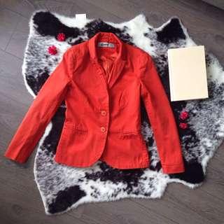 Stradivarious orange cotton blazer