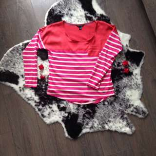 TOMMY HILFIGER pink and white stripes + red oversized t-shirt long sleeve