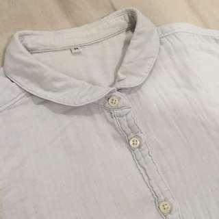 無印良品 二重紗織圓領娃娃襯衫