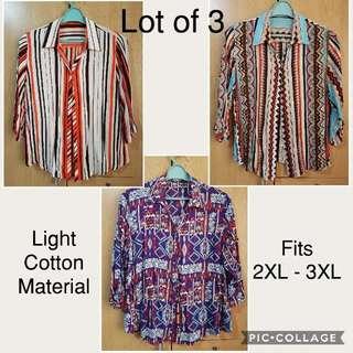 PLUS SIZE Lot Of 3 Ladies Printed Blouse