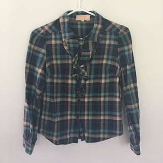 *Price Reduced* Frills Plaid Shirt From Japan