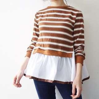 PAFON Brown Stripes Top
