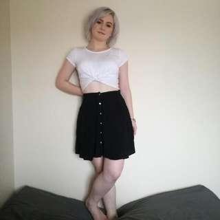 Black Button Skirt - Glassons