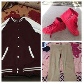 Red/white Bomber Jacket , Red High Tops Shoes , Beige Colour Skinny Jeans