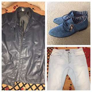 Leather Jacket , Blue Dress Shoes , Light Blue Skinny Chinos