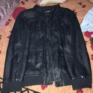 Black Leather Jacket With Custom Hoodie