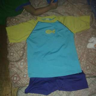 Swimming T-shirt Together With Swimming Shorts