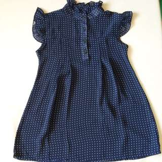 ⭐️ polkadot navy blue top