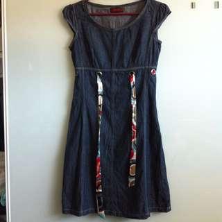 Dark Blue Denim Dress with Cap Sleeves