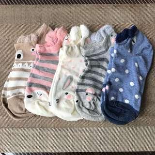 [INSTOCK][FREE📬]BN Set Of 5 Ladies Cute Animal Ankle Socks