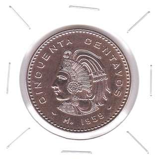1959 Mexico 50 centavos