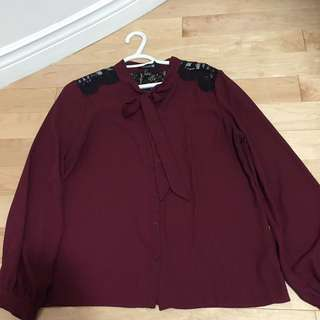 Chiffon Burgundy Blouse With Lace Back