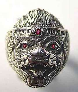 Lord HANUMAN deity Sterling Silver ruby eyes Hindu Ring Jewelry Buddha Monkey OM Choose your ring size