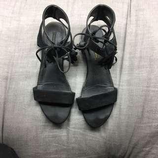 Windsor Smith Black Suede Tie Up Sandals