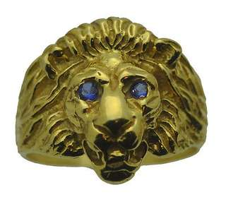 New Lion Ring Sterling Silver Jewelry Cat 24kt Gold Plated Sapphire eyes stones Choose your ring size