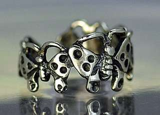 New Real Sterling Silver Elegant Butterfly Toe or Pinky Ring Insect bug Jewelry Choose your ring size