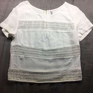 White Tee With See Through Hole Pattern