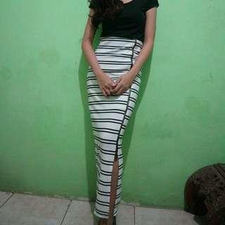stripe long skirt