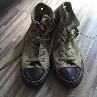 All Star 復古皮革高筒帆布鞋
