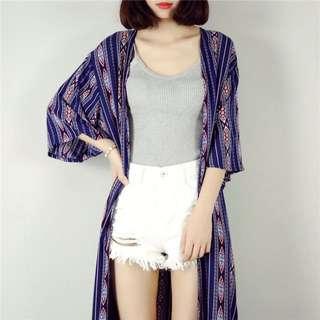 (預購)波希米亞長版率性圖騰印花長版罩衫外套 紅黑藍 泰國 峇里島 海灘度假