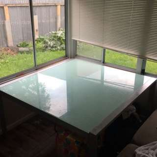 Large Glass Table With 8 Chairs