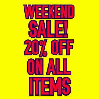 SALE!  20% OFF ON ALL ITEMS!