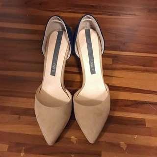雙色麂皮氣質高跟鞋