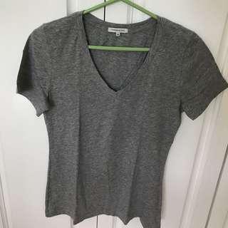 Basic V-neck T-shirt In Grey