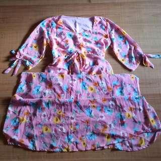 Pink Flower Long Dress