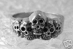Skull Family Skeleton Ring Gothic Sterling Silver Bones Choose your ring size
