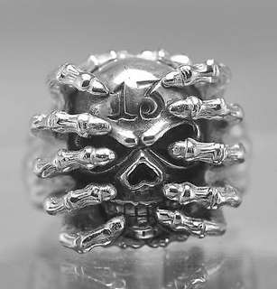 Skull Skeleton Biker 13 Thirteen Sterling silver ring Choose your ring size