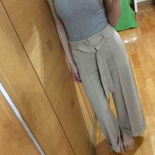 全新米色西裝高腰寬褲