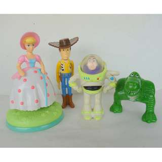 Retro, Vintage, Old Toys, Pixar 1995 Original Toy Story, Set of 4 Action Figures, Sheriff Woody, Buzz Lightyear, Bo Peep and Rex, The Walt Disney Company, McDonald's Happy Meal Promotional Toy, Limited Edition, For Collector