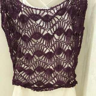 xing專櫃品牌 紫色雕花蔞空上衣