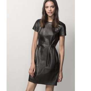 NEW Massimo Dutti Leather Black One Piece Dress