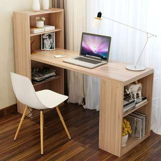 Simple and Neat Wooden Table with Bookshelves