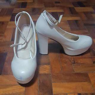 Cream Doll Shoes with Strap