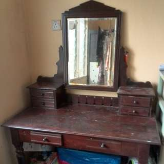 Antique Wooden Dressing Table with Swivel mirror.